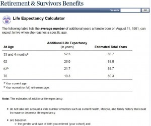 Social Security Life Expectancy Calculator